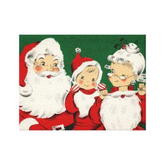 Jul för vintageSanta familj Canvastryck