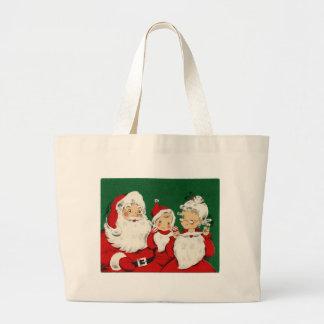 Jul för vintageSanta familj Jumbo Tygkasse