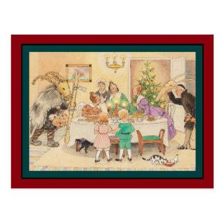 Jul get på julbord vykort