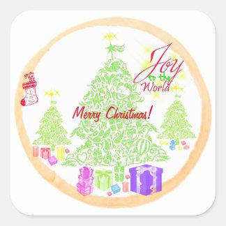 """Jul """"glädje kaka till för världen"""" fyrkantigt klistermärke"""