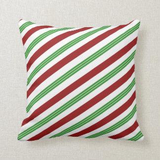Jul görad randig dekor för Mintcandy canehelgdag Kudde