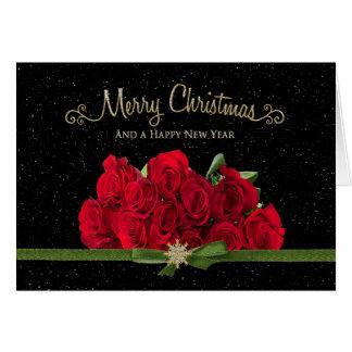 Jul & gott nytt år - röd ros - Snowing - Hälsningskort