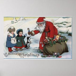 Jul GreetingSanta och ungar Poster