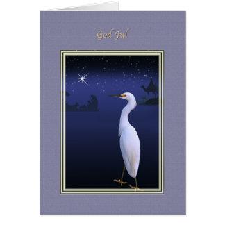 Jul gud Jul, norrman, Egret, Nativity Hälsningskort