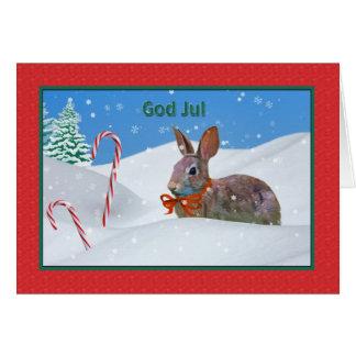 Jul gud Jul, norrman, kanin, snö, kort
