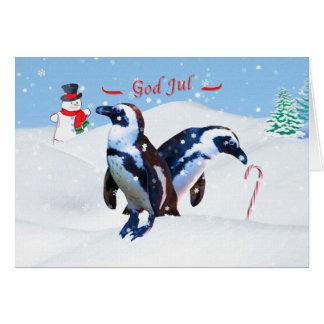 Jul gud Jul, norrman, pingvin i snö Hälsningskort