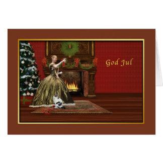 Jul gud Jul, norrman som är gammalmodig Hälsningskort