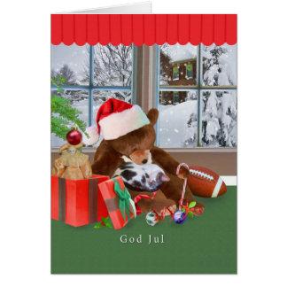 Jul gud Jul, norrman som sovar katten, nalle Hälsningskort