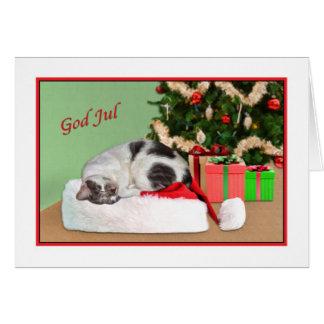 Jul gud Jul, norrman som sovar kattkortet Hälsningskort
