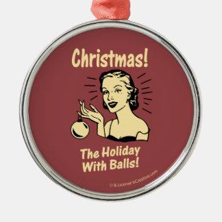 Jul: Helgdag med bollar Rund Silverfärgad Julgransprydnad