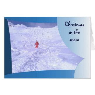 Jul i den franska alpernan 3 för snö hälsningskort
