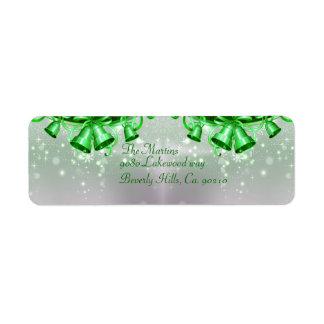 Jul Klockor i grönt & silver Returadress Etikett