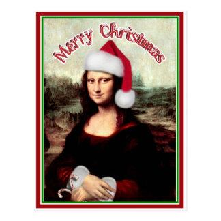 Jul Mona Lisa med den Santa hatten Vykort