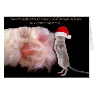 Jul mus och kort för katttasshälsning