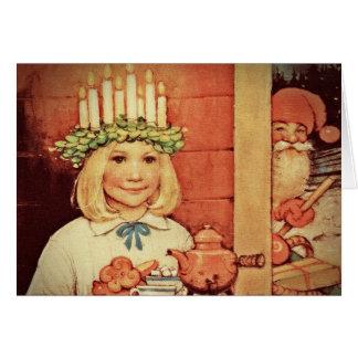 Jul Nisse och Lucia dag Karin Hälsningskort
