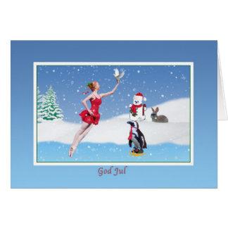 Jul norrman, gud Jul, Ballerina, snö Hälsningskort