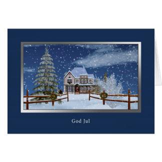 Jul norrman, gud Jul Hälsningskort