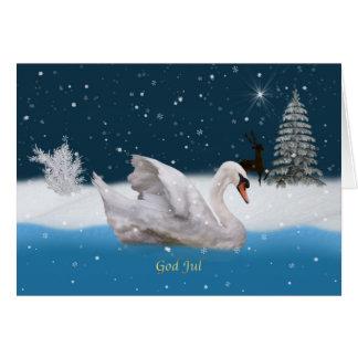 Jul norrman, snöig natt med svanen hälsningskort