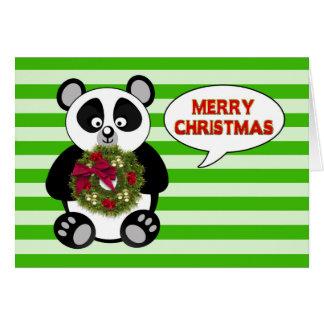 JUL - Pandabjörn - kran - humor Hälsningskort