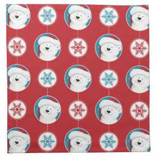 Jul polart festligt mönster för björn och för tygservett