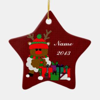 Jul ren och presenter stjärnformad julgransprydnad i keramik