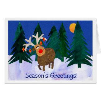 Jul ren, säsong hälsningar! hälsningskort