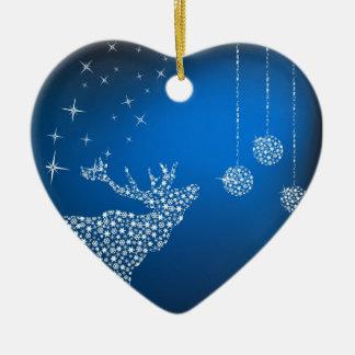 Jul ren & stjärnor hjärtformad julgransprydnad i keramik