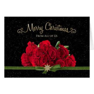 Jul - röd ros - från allihop - Snowing - Hälsningskort