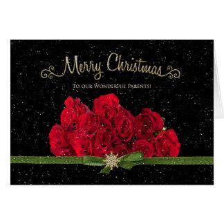 Jul - röd ros - våra föräldrar - Snowing - Hälsningskort