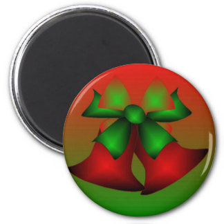 Jul röda Klockor Magnet Rund 5.7 Cm