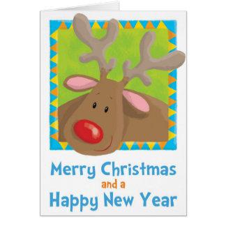 jul rudolf, ren, julafton, roligt, humor, se hälsningskort