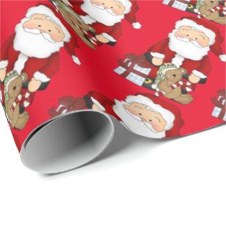 Jul Santa och leksaker som slår in papper Presentpapper