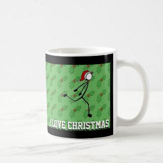 Jul Santa som doppar Sprinterjärneken Stickman Vit Mugg