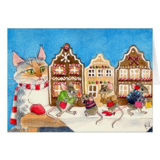 Jul som shoppar möss och katten hälsningskort
