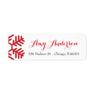 Juladressetikett med den röda snowflaken returadress etikett