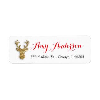 Juladressetikett med guld- glitterhjort returadress etikett