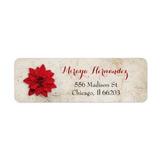 Juladressetikett med röd julstjärna returadress etikett