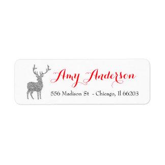 Juladressetikett med silverglitterhjort returadress etikett