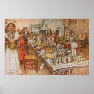 Julafton av Carl Larsson, vintagehelgdagar Poster