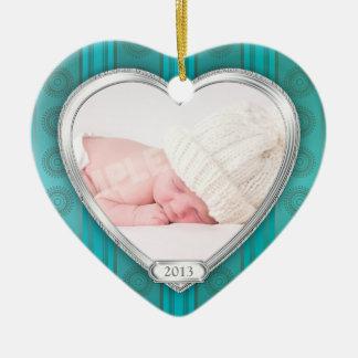 Julafton för foto för silver för Babys första Julgransprydnad Keramik
