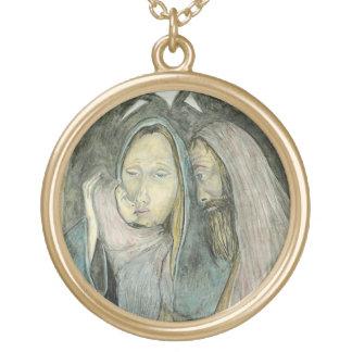 Julafton för jul för babyJesus Mary Joseph Guldpläterat Halsband