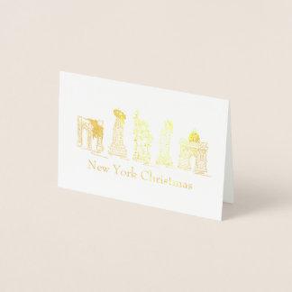 Julafton för Landmarks för helgdag för New York Folierat Kort
