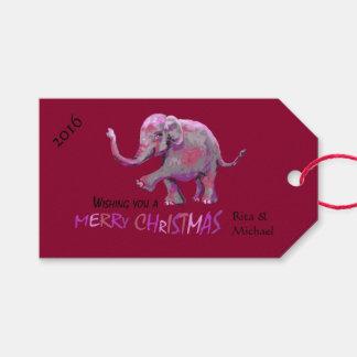 Julafton för personligBurgundy lite målad elefant Presentetikett