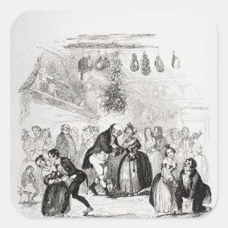 Julafton på Herr Wardles Fyrkantigt Klistermärke