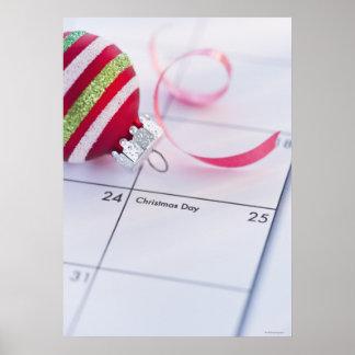Julbauble på kalender poster