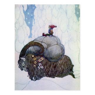 Julbocken som rider den Yule geten Vykort
