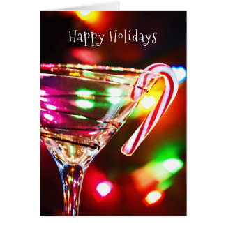 Julcandy cane på martini exponeringsglas hälsningskort