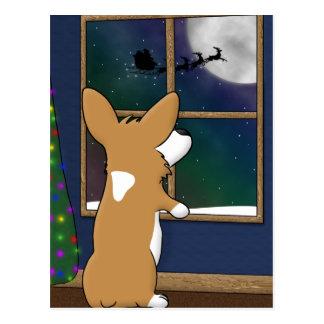 JulCorgi på fönstret Vykort