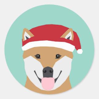 JulDogeklistermärke - Shiba Inu jul Runt Klistermärke