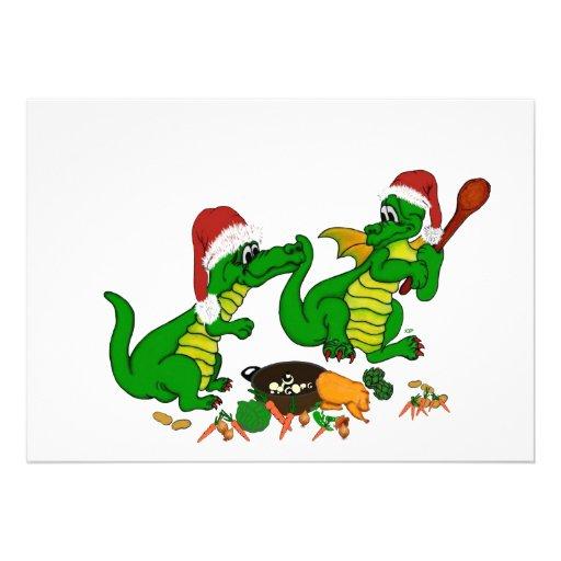 Juldrakar - i dag önskar jag kocken inbjudningskort